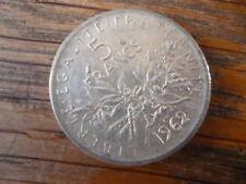 Piéce de 5 Francs en Argent  1962 la semeuse