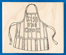 Kiss the Cook Apron Rubber Stamp by Peddler's Pack Stampworks - Barbecue Cooking