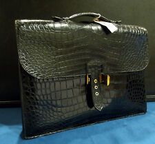 HERMES-PARIS SHINY BLACK CROCODILE BRIEFCASE IN PRISTINE CONDITION