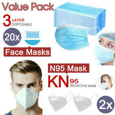 20x Level 3 PLY Disposable Face Masks + 2x N95 KN95 Masks Respirator Anti Flu