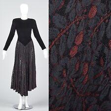 XS Norma Kamali Black Velvet Long Sleeve Lace Princess Waist Pastel Goth Dress