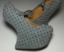 JEFFREY CAMPBELL NIGHT WALK Q GREY SILVER STUDDED PLATFORM 7M MUST HAVE FASTSHIP