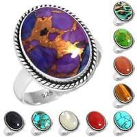 925 Sterling Silver Gemstone Ring Women Jewelry Size 5 6 7 8 9 10 11 12 13 kD822