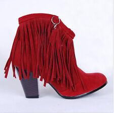 Ladies Cowboy Faux Suede High Heels Ankle Fringe Tassels Western Boots Shoes Sz