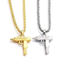 Uzi Machine Gun Hip Hop Pendant Necklace Box Chain Gold Or Silver Plated