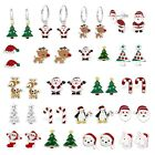 925 Sterling Silver Crystal Christmas Tree Santa Rudolph Reindeer Candy Earrings