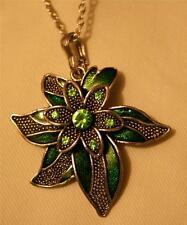 Lovely Raised Pointed Silvertone Petal Grass Green Flower Pendant Necklace