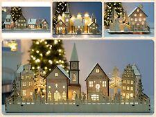 Pre Lit Light Up Wooden Village Church House Scene Table Top Christmas Decor New