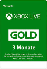 3 Monate Xbox One / 360 Live Gold Mitglliedschaft Monate Karte 3 Month Card Code