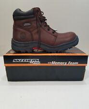 Skechers Burgin Dark Brown Men 13 Work Boots w Safety Toe & Memory Foam