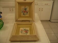 Beautiful Vintage Pair Of Double Framed Shadow Box Picture Prints Of Pink Roses