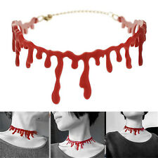 Halloween Party Dress Ball Punk Rock Deathrock Blood Red Stitch Choker NecklaceT