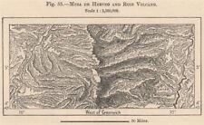 Mesa de Herveo & El Ruiz Volcano. Los Nevados. Honda. Colombia 1885 old map