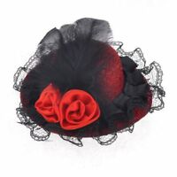 Black lace flower decoration Red mini top hat women crocodile hair clamp sh V3J1