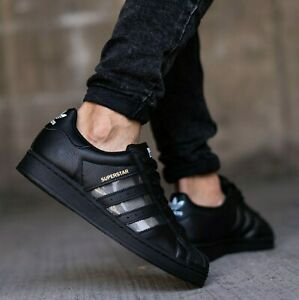 New adidas Originals Superstar leather casual Mens black athletic sneaker 8-13