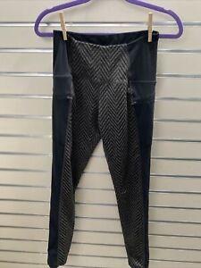 C9 Champion Size S High Waist Black/ Gray Chevron Stripe Leggings Zip Pockets