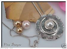 925 Sterling Silver Swarovski Crystals Pearl Designer Handmade Jewelry Pendant