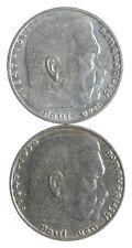 1939 1937 GERMAN WW2 NAZI 2 Mark Swastika Silver Coin - Germany War *451