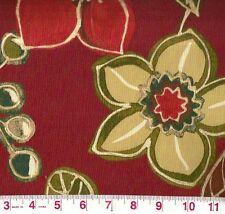 Bryant Calypso Cranberry Red Indoor Outdoor Floral Upholstery Fabric