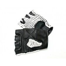 LEATHER FINGERLESS GLOVES WEIGHT TRAINING, GYM, DRIVING, CYCLING, WHEELCHAIR USE