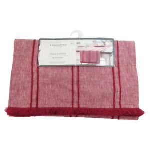 """Threshold 14"""" x 72"""" Table Runner NWT Red Striped Linen Blend Farmhouse Fringe"""
