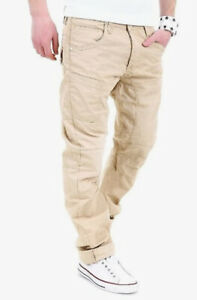 Cipo Baxx Beige Cargo Pants Button Up Curved W 30 L 34 Embroidered Pockets Mens
