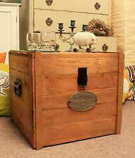 Rustic Wooden Chest Trunk Storage Blanket Box Antique Vintage Coffee Table