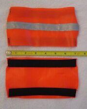 "2 Fluorescent Orange Reflective Armband Silver Stripe 4"" x 7"" Runner Bike Safety"