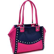 New Women Handbag Pyramid Studded Faux Leather Shoulder Bag Purse Navy Blue/Pink