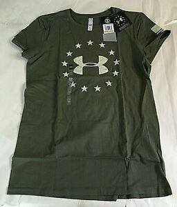$25 Under Armour 1300367-390 Women's Heatgear Freedom Logo T-Shirt, SM/CH, NWT