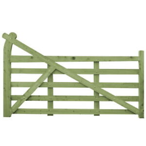 Curved Heel Wooden Driveway Gate Ranch Gates Tanalised Green Treated 5 Bar