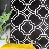 Black Moroccan Living Room Rug Small Large Trellis Area Rugs Long Hall Runner