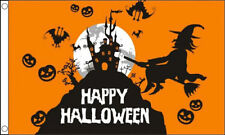 HAPPY HALLOWEEN ORANGE FLAG - 5X3 FT - W/ WITCHES, BATS & PUMPKIN DESIGNS