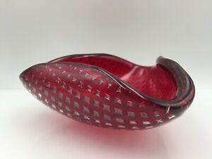 Murano Venini Schale signiert original Luftblasen rot 14cm Ascher Aschenbecher