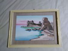 HAND PAINTED ART PAINTING VIEW Seal Pyongyang + Signed  11,81 x 7,87 inches