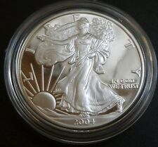 USA 1oz .999 ARGENTO PROOF American Eagle Un Dollaro $1 2004 in scatola + COA