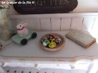 6 oeufs de Pâques miniatures décoration maison de poupées échelle 1:12 1/12 NEUF