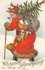 CHRISTMAS HOLIDAY RED SUITED SANTA CLAUS TREE TOYS EMBOSSED POSTCARD 1908