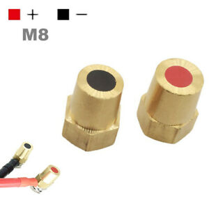 Pair Car Battery Terminal Connector Posts Clamp Clip Negative Positive M8 Copper