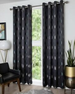 Pair Of Kolla Dark Geen Spotted Eyelet Curtains B&Q - 2x Singles 260X140Cm