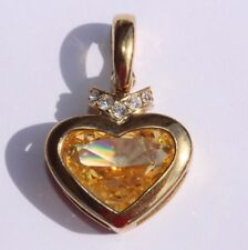 Signed Nolan Miller Yellow Cimulated Citrine Gold Plated Heart Pendant