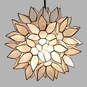 Small White Capiz Shell Lotus Petal Pendant Hanging Lampshade Handmade, 11.8 Dia