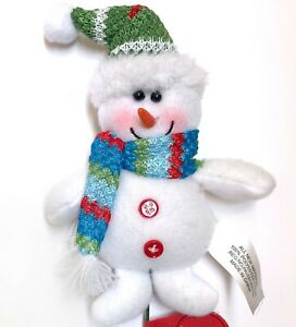 Snowman Christmas Pick Tree Wreath Ornament Decor Green Hat Blue Scarf R