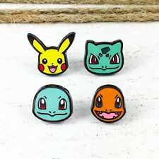 Starter Pokémon Mini Enamel Pin Set, pikachu, bulbasaur, squirtle, charmander
