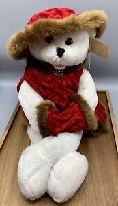 "Chantilly Lane Sasha Musical Red Hat Vest Muff 22"" Bear Sings Winter Wonderland"