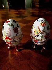 Vintage Porcelain Floral Gold Gilt Footed 2 Egg Trinkets Ring Box Collectible