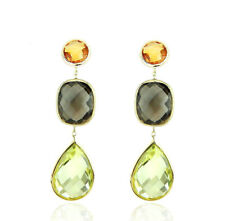 14K Yellow Gold Earrings With Citrine, Smoky And Lemon Topaz Gemstones