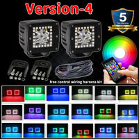 "Pair 48W LED Work Light 3"" inch Cube Pods Bluetooth RGB Halo & Wiring Harness"