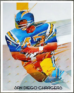 NFL San Diego Chargers Color ART Poster Reprint 8 X 10 Photo