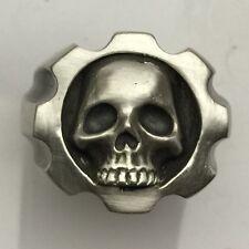 MJG STERLING SILVER .357 MAGNUM 8 SHOT SKULL RING. HARLEY. BIKER. GUITAR. SZ 10